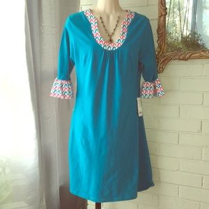 Tracy Negoshian Turquoise blue pocket dress M NWT